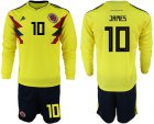 Cheap Colombia #10 James Home Long Sleeves Soccer Country Jersey