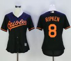 Cheap Orioles #8 Cal Ripken Black Women's Alternate Stitched MLB Jersey