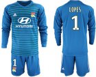 Cheap Lyon #1 Lopes Blue Goalkeeper Long Sleeves Soccer Club Jersey