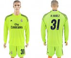 Cheap Real Madrid #31 R.Yanez Shiny Green Goalkeeper Long Sleeves Soccer Club Jersey