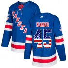 Cheap Adidas Rangers #45 Kappo Kakko Royal Blue Home Authentic USA Flag Stitched NHL Jersey
