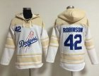 Cheap Dodgers #42 Jackie Robinson White Sawyer Hooded Sweatshirt MLB Hoodie