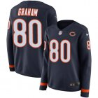 Cheap Nike Bears #80 Jimmy Graham Navy Blue Team Color Women's Stitched NFL Limited Therma Long Sleeve Jersey