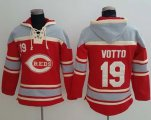 Cheap Reds #19 Joey Votto Red Sawyer Hooded Sweatshirt MLB Hoodie