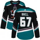 Cheap Adidas Ducks #67 Rickard Rakell Black/Teal Alternate Authentic Women's Stitched NHL Jersey