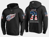 Cheap Red Wings #71 Dylan Larkin NHL Banner Wave Usa Flag Black Hoodie