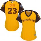 Cheap Mariners #23 Nelson Cruz Gold 2016 All-Star American League Women's Stitched MLB Jersey