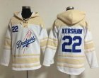 Cheap Dodgers #22 Clayton Kershaw White Sawyer Hooded Sweatshirt MLB Hoodie