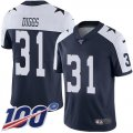 Cheap Nike Cowboys #31 Trevon Diggs Navy Blue Thanksgiving Men's Stitched NFL 100th Season Vapor Throwback Limited Jersey