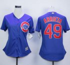 Cheap Cubs #49 Jake Arrieta Blue Alternate Women's Stitched MLB Jersey