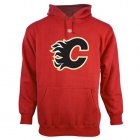 Cheap Calgary Flames Old Time Hockey Big Logo with Crest Pullover Hoodie Red