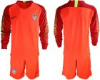 Cheap USA Blank Red Goalkeeper Long Sleeves Soccer Country Jersey