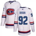 Cheap Adidas Canadiens #92 Jonathan Drouin White Authentic 2017 100 Classic Stitched Youth NHL Jersey
