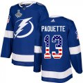 Cheap Adidas Lightning #13 Cedric Paquette Blue Home Authentic USA Flag 2020 Stanley Cup Champions Stitched NHL Jersey
