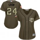 Cheap Twins #24 C.J. Cron Green Salute to Service Women's Stitched MLB Jersey