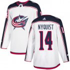 Cheap Adidas Blue Jackets #14 Gustav Nyquist White Road Authentic Stitched Youth NHL Jersey