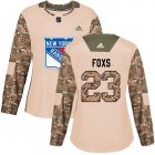 Cheap Adidas Rangers #23 Adam Foxs Camo Authentic 2017 Veterans Day Women's Stitched NHL Jersey