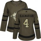Cheap Adidas Coyotes #4 Niklas Hjalmarsson Green Salute to Service Women's Stitched NHL Jersey