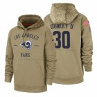 Cheap Los Angeles Rams #30 Todd Gurley II Nike Tan 2019 Salute To Service Name & Number Sideline Therma Pullover Hoodie