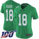 Cheap Nike Eagles #18 Jalen Reagor Green Women's Stitched NFL Limited Rush 100th Season Jersey