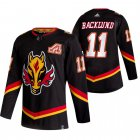 Cheap Calgary Flames #11 Mikael Backlund Black Men's Adidas 2020-21 Reverse Retro Alternate NHL Jersey