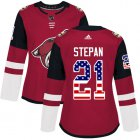 Cheap Adidas Coyotes #21 Derek Stepan Maroon Home Authentic USA Flag Women's Stitched NHL Jersey