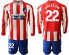 Cheap Atletico Madrid #22 Nico Gaitan Home Long Sleeves Soccer Club Jersey