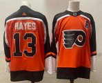 Cheap Men's Philadelphia Flyers #13 Kevin Hayes Orange Adidas 2020-21 Stitched NHL Jersey
