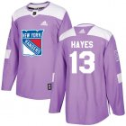 Cheap Adidas Rangers #13 Kevin Hayes Purple Authentic Fights Cancer Stitched Youth NHL Jersey