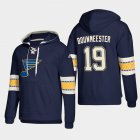 Cheap St. Louis Blues #19 Jay Bouwmeester Blue adidas Lace-Up Pullover Hoodie