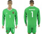 Cheap Russia #1 Akinfeev Green Long Sleeves Goalkeeper Soccer Country Jersey