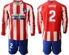 Cheap Atletico Madrid #2 Godin Home Long Sleeves Soccer Club Jersey