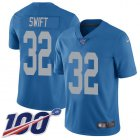 Cheap Nike Lions #32 D'Andre Swift Blue Throwback Men's Stitched NFL 100th Season Vapor Untouchable Limited Jersey