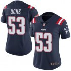 Cheap Nike Patriots #53 Josh Uche Navy Blue Women's Stitched NFL Limited Rush Jersey