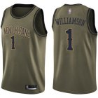 Cheap Youth Pelicans #1 Zion Williamson Green Salute to Service Basketball Swingman Jersey