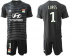 Cheap Lyon #1 Lopes Black Goalkeeper Soccer Club Jersey