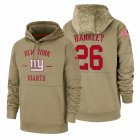 Cheap New York Giants #26 Saquon Barkley Nike Tan 2019 Salute To Service Name & Number Sideline Therma Pullover Hoodie