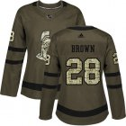 Cheap Adidas Senators #28 Connor Brown Green Salute to Service Women's Stitched NHL Jersey
