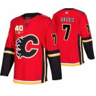 Cheap Adidas Calgary Flames #7 TJ Brodie 40th Anniversary Third 2019-20 NHL Jersey