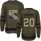 Cheap Adidas Rangers #20 Chris Kreider Green Salute to Service Stitched Youth NHL Jersey