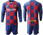 Cheap Barcelona Blank Home Long Sleeves Soccer Club Jersey