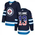 Cheap Adidas Jets #13 Teemu Selanne Navy Blue Home Authentic USA Flag Stitched NHL Jersey