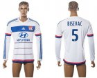 Cheap Lyon #5 Bisevac Home Long Sleeves Soccer Club Jersey