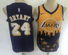 Cheap Men's Los Angeles Lakers #24 Kobe Bryant Purple with Yellow Salute Nike Swingman Stitched NBA Jersey