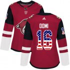 Cheap Adidas Coyotes #16 Max Domi Maroon Home Authentic USA Flag Women's Stitched NHL Jersey