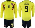 Cheap Colombia #9 Falcao Home Long Sleeves Soccer Country Jersey