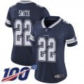 Cheap Nike Cowboys #22 Emmitt Smith Navy Blue Team Color Women's Stitched NFL 100th Season Vapor Limited Jersey