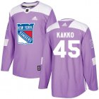 Cheap Adidas Rangers #45 Kappo Kakko Purple Authentic Fights Cancer Stitched Youth NHL Jersey