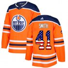 Cheap Adidas Oilers #41 Mike Smith Orange Home Authentic USA Flag Stitched Youth NHL Jersey