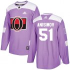 Cheap Adidas Senators #51 Artem Anisimov Purple Authentic Fights Cancer Stitched NHL Jersey